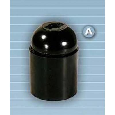 Portalámparas baquelita S. Europa E-27, campana lisa Negro