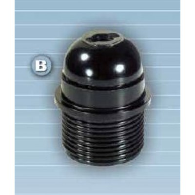 Portalámparas baquelita S. Europa E-27, campana semi-roscada Negro