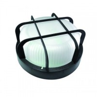 Aplique LED de pared redondo, 6W, IP44, con defensa