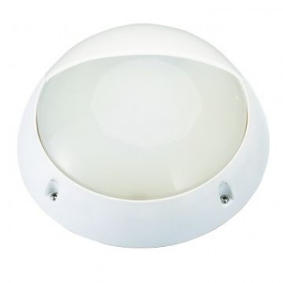 Aplique LED de pared redondo de policarbonato, 7W, IP44, con visera