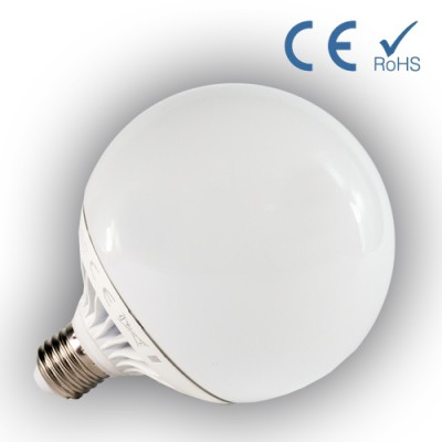 Bombilla LED Globo 95mm E-27P 13W 230V Blanco frio cristal y base aluminio
