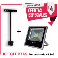 Kit Foco Exterior 30W + Soporte 500 mm