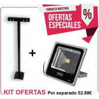 Kit Foco Exterior 50W + Soporte 500 mm