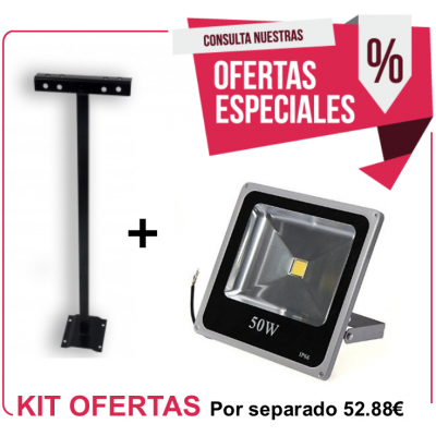 Kit Foco Exterior 50W (Blanco Neutro) + Soporte 500 mm