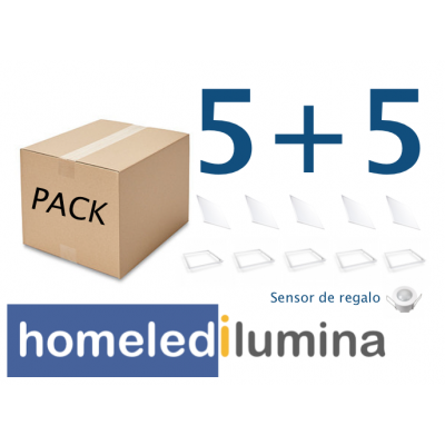 PACK 5 Uds PANEL LED 3000ºK + 5 Uds SOPORTE PANEL LED EMPOTRAR + 1 Ud SENSOR DE MOVIMIENTO DE REGALO